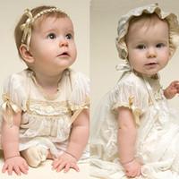 Wholesale New Arrival Baby Party Baptism Dresses Beige Lace Long Christening Dresses Short Sleeve Custom Made for Baby Boy and Girls vestido de festa