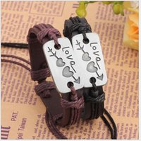 acting charm - An arrow through a heart leather bracelet couples act the role ofing is tasted Valentine s day gifts