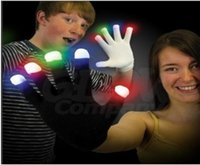 Wholesale Christmas decoration pairs white fabric Modes colors changeable flashing led gloves Rave Light LED Finger Lighting Glove
