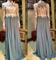 arab evening dresses - Arab Muslim Evening Dresses High Neck Long Sleeves Grey Blue Chiffon Formal Gown Hot Sale