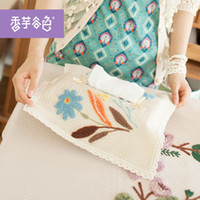 Wholesale Hand embroidery taro Valley Pastoral tissue box cover color car pumping tray cover toilet cotton towel sets