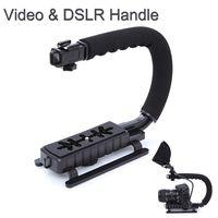Wholesale C Shape flash Bracket holder Video Handle Handheld Stabilizer Grip for DSLR SLR Camera Phone Gopro AEE Mini DV Camcorder