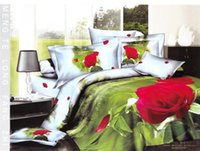 bedroom sets discount - red rose flower prints discount bedding sets cotton bed linen home textile full queen quilt duvet covers sets pc for bedroom