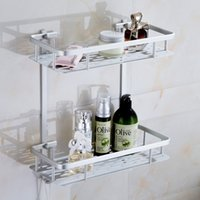 Wholesale Dual tier bathroom shelf aluminum wall mounted rectangle ventilating panel shampoo body lotion rack bathroom accessories