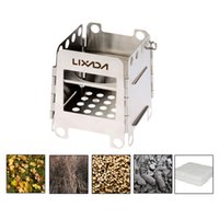 Wholesale LIXADA Portable Stainless Steel Lightweight Folding Wood Stove Pocket Stove Outdoor Camping Cooking Picnic Backpacking Stove Y2400