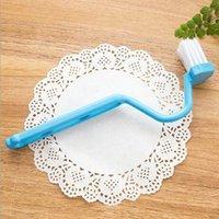 Wholesale 1Pcs Portable Toilet Brush Scrubber V type Cleaner Clean Brush Bent Bowl Handle For Household Cleaning Corner Color Random