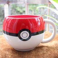 ball milk - Hot Poke Ball Ceramic Cup Tea Cups Coffee Cups Cartoon Poke Milk Mug With Gift Box Packing CM003