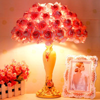 bakelite resin - 1 piece Creative resin roses table lamp Sweet pink rose bedside lamp European style marriage room romantic adornment