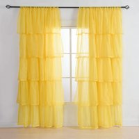 Wholesale Mediterranean Fold curtain Solid color gauze ruffles curtains French window for bedroom living room Pink White Yellow Green Violet