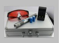 al por mayor pen box-Lápiz puntero láser más potente de 10 millas Burning puntero láser azul con los vidrios de la caja del metal cargador y la batería