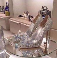 adhesive glass rhinestone - Cinderella s glass slipper silver diamond wedding shoes bride pointed the stiletto heel shoes single female wedding dresses