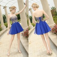 Wholesale In Stock Robe De Soiree Short Homecoming Dresses Sweetheart Chiffon Prom Dresses Appliques Sleeveless Evening Gowns