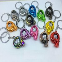 Wholesale Creative Fashion LED Electric Torch Spinning Turbo Keychain Fans Favorite Sleeve Bearing Turbine Turbocharger Keyring Key Chain Ring Keyfob