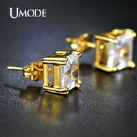 asscher diamonds - UMODE mm Carat Asscher Cut Clear Cubic Zirconia Gold Plated Simulated Diamond Post Stud Earrings Jewelry for Women UE0187A