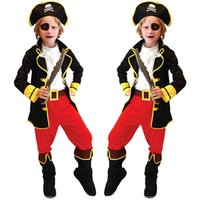 Wholesale Halloween Kids Children Pirate Captain Jack Costume Suit Cosplay Theme Uniform Overalls Vest Pants Boots Cap Masks Belt Set Clothing WS0070