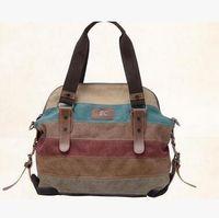 Wholesale women bag should bag carvas bag fashion outdours bag travel bag handbag Stitching color bag