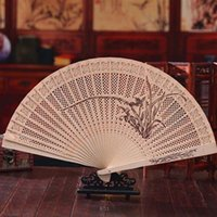 Wholesale 1 New Arrival Home Decoration Crafts Wooden Hand Fans Art Folding Carved Fans Hot Summer Accesories Gifts