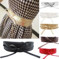 achat en gros de robe enveloppante ceinture-Nouvelle mode femmes ceinture en cuir souple Wide Self Tie Wrap autour de la ceinture de robe de la ceinture Y1