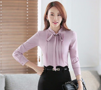 Wholesale 2016 Autumn OL elegant bow slim shirt women s long sleeve Formal chiffon blouse office ladies plus size fashion tops work wear