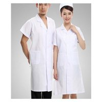 Wholesale Hostipal Doctor Overalls Work Uniform Clothes White Gown Summer Six Size White Color Short Sleeve Delicate Fabric Super Fabric Cotton