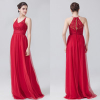 Cheap 2016 New Arrival Red Bridesmaid Dresses Cheap Jewel Neckline Chiffon Floor Length Lace Long Bridesmaid Dresses for Wedding