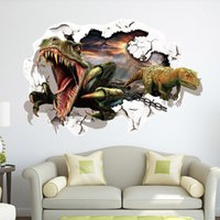 Wholesale New D Dinosaurs Through The Wall Stickers Jurassic park Home Decoration Diy Cartoon Kids Room Wall Decal Movie Mural Art