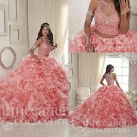 Wholesale Gorgeous Coral Two Pieces Ball Gowns Quinceanera Dresses Sheer Neck Lace up Beaded Crystals Tiers Detachable Train Formal Prom Gowns
