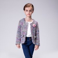 Wholesale Hot Sale Children Autumn and Winter Coats New Fashion Candydoll D Flower Quality Fabrics Girls Party Suit