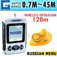 Wholesale Russian Menu FFW Digital Wireless Sonar Dot Matrix m Fish Finder Sonar Radio Sea Contour Live Update Alarm Temperature C F