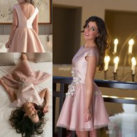 art deco collection - Said Mhamad Blush Pink Short Homecoming Dresses Junior Cap Sleeves with Buttons A Line Knee Length Tulle Prom Party Gowns Collection