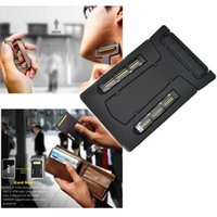 Wholesale Mens Thin Mini Portable Travel Wallet Credit Card Shaver Razor Mirror With Blade