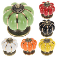Wholesale Vintage Pumpkin Ceramic Door Knobs Cabinet Drawer Cupboard Kitchen Pull
