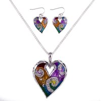 Wholesale MS1504511 Fashion Jewelry Sets High Quality Necklace Sets For Women Jewelry Multicolored Crystal Unique Love Heart Design