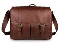Wholesale Vintage genuine leather men messenger bag laptop shoulder bag SLR Camera bag