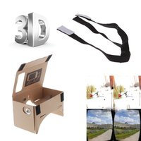 Wholesale Google Cardboard Virtual Reality VR Mobile Phone D Viewing Glasses for Screen Adjustable Head Mout Strap Belt