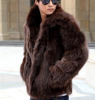 Wholesale Fall Autumn Winter Men Faux Fox Fur Coats Male Black White Brown Fur Outerwear Casual Plus Size Fur Jacket XXXL W687