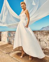 corset high low wedding gowns - Vintage Soft Satin Beach Wedding Dresses Corset Bodice Stretch Satin Bridal Gowns High low Skirts Wedding Gowns
