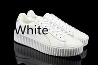 ankle sneakers women - 2016 Rihanna x Suede Creeper Oatmeal Women Men Casual Shoes Fashion Ladies Rihanna shoes sneakers women Top quality