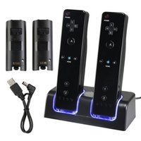 battery charge station - Dual Wii Remote Charger Charging Station with Rechargeable Batteries LED Light for Wii Remote Control