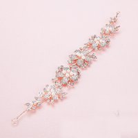 Wholesale Newe Fashion Charming Pearl Crystal Bridal Tiaras Rhinestone Rose Gold Headbands for Women Wedding Hair Jewelry accessories