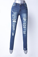 american jeans manufacturers - College spring new Ms waist pencil jeans worn boot cut leg opening irregular fashion manufacturers