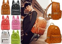Wholesale 2016 New Arrival Brand Fashion School Bags Hot Punk style Men Women Backpack Rivet Crown Student Backpack PU Leather Lady Shoulder Bag Bags