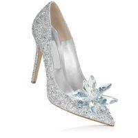 Wholesale 2017 women customized Cinderella bride party Dress Footwear Rhinestone High heel Wedding Ladies Evening Pumps elegent Bridal shoes