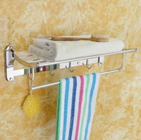 Wholesale Chrom Stainless Steel Wall Mounted Bathroom Towel Rack Holder Storage Shelf Rail Folding movable Towel