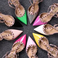 Cheap New Mixed-colors Rivets Studded Women Sandals High Heels Narrow Band Patch Ankle Strapy Buckle pointed Toe Party Shoes Woman