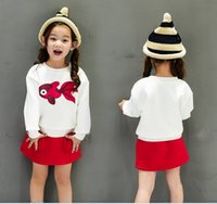 best skirt patterns - Simple korean style children suit Girl s fleece and a short red skirt fish pattern with best quality Q0295