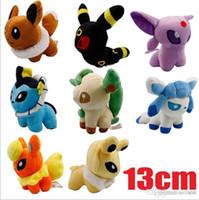 Wholesale 13cm Poke Plush Toys Pikachu Umbreon Eevee Espeon Jolteon Vaporeon Flareon Glaceon Leafeon Soft Stuffed Dolls Figures Toys set