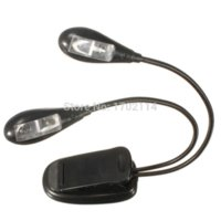 Excellente qualité à double bras flexibles 4 LED clip Camping Light On lit Livre de lecture Bureau portable Pupitre Lampe