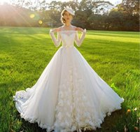 artificial shoulder - 2016 Wedding Dresses Off The Shoulder Long Sleeve Real Pictures Spring Garden A Line Wedding Dress with Artificial Flowers