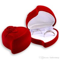 red velvet flower - Gift Jewelry Box Display Acrylic Boxes and Packaging Red Heart Flower Wedding Earrings Ring Necklace Box for Decoration Ulove